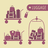 Various luggage carts and suitcases. Three luggage carts with suitcases and bags on a beige background Stock Images