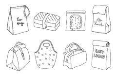 Various lunch boxes and lunch bags set. Eco bag, sandwich box, easy lunch. Hand drawn artistic sketch illustration Royalty Free Stock Photo