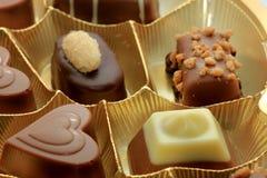 Various luxurious chocolates. Luxurious chocolates in a golden box Stock Photos