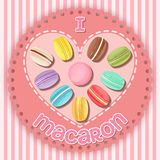 Various macarons on heart shape Royalty Free Stock Photography