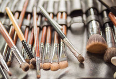 Various Make-up Brushes for the bride in Wedding Ceremony Royalty Free Stock Photos