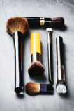 Various makeup brushes. Beauty concept Royalty Free Stock Images