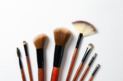 Various makeup brushes isolated over white background royalty free stock images