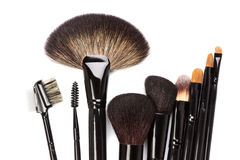 Various makeup brushes isolated on white Stock Image