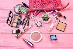 Free Various Makeup Products On Wooden Background. Stock Photo - 112389710