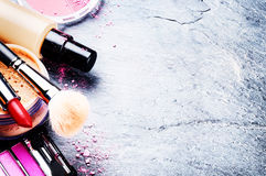 Various makeup products in pink tone Royalty Free Stock Photography