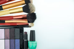 Various makeup products on white background with copyspace. Makeup products on white background with copyspace Royalty Free Stock Photos
