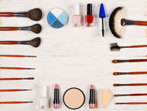 Various makeup products on white  background with copyspace Stock Image