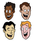 Various male cartoon faces. Four cartoony male faces of different races Royalty Free Stock Photo