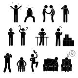 Various Man Attitude Personalities Characters Stick Figure Pictogram Icons Stock Photos