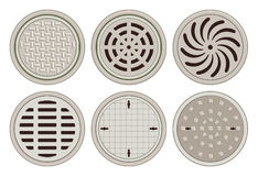 Various Manhole Covers Stock Photo