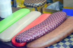 Various manicure pillow, Nail art pillow for manicure royalty free stock photos