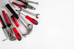 Various and many tools on white background Stock Photography