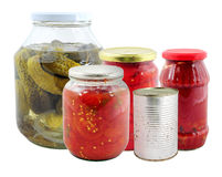 Various marinated vegetables in jars Royalty Free Stock Photography
