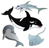 Various marine fishes collection. Vector illustration Stock Photography