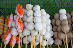 Various meat ball on stick selling Stock Photos