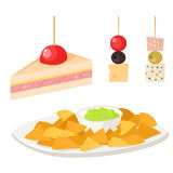 Various meat canape snacks appetizer fish and cheese banquet snacks on platter vector illustration. Royalty Free Stock Photo
