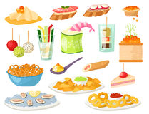 Various meat canape snacks appetizer fish and cheese banquet snacks on platter vector illustration. Stock Image