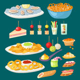 Various meat canape snacks appetizer fish and cheese banquet snacks on platter vector illustration. Various meat canape snacks appetizer fish and cheese banquet Royalty Free Stock Photos