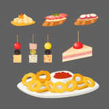 Various meat canape snacks appetizer fish and cheese banquet snacks on platter vector illustration. Various meat canape snacks appetizer fish and cheese banquet Stock Photo