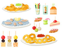 Various meat canape snacks appetizer fish and cheese banquet snacks on platter vector illustration. Various meat canape snacks appetizer fish and cheese banquet Royalty Free Stock Photography