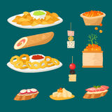 Various meat canape snacks appetizer fish and cheese banquet snacks on platter vector illustration. Various meat canape snacks appetizer fish and cheese banquet Stock Images