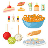 Various meat canape snacks appetizer fish and cheese banquet snacks on platter vector illustration. Stock Images