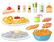 Various meat canape snacks appetizer fish and cheese banquet snacks on platter vector illustration. Stock Photos