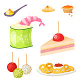 Various meat canape snacks appetizer fish and cheese banquet snacks on platter vector illustration. Stock Photo