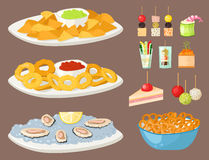 Various meat canape snacks appetizer fish and cheese banquet snacks on platter vector illustration. Stock Photography