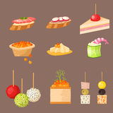 Various meat canape snacks appetizer fish and cheese banquet snacks on platter vector illustration. Various meat canape snacks appetizer fish and cheese banquet Stock Photos