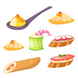 Various meat canape snacks appetizer fish and cheese banquet snacks on platter vector illustration. Royalty Free Stock Photography