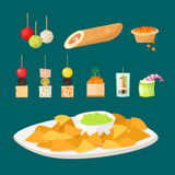 Various meat canape snacks appetizer fish and cheese banquet snacks on platter vector illustration. Royalty Free Stock Image