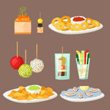 Various meat canape snacks appetizer fish and cheese banquet snacks on platter vector illustration. Various meat canape snacks appetizer fish and cheese banquet Stock Photography