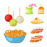 Various meat canape snacks appetizer fish and cheese banquet snacks on platter vector illustration. Various meat canape snacks appetizer fish and cheese banquet Royalty Free Stock Image