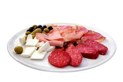 Various meat cheese and olives Royalty Free Stock Image