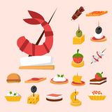 Various meat fish cheese banquet snacks on banquet platter canape snacks appetizer delicious vector. Various meat, fish and cheese banquet snacks on banquet Stock Photography