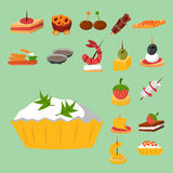Various meat fish cheese banquet snacks on banquet platter canape snacks appetizer delicious vector. Various meat, fish and cheese banquet snacks on banquet Royalty Free Stock Photo