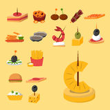 Various meat fish cheese banquet snacks on banquet platter canape snacks appetizer delicious vector. Various meat, fish and cheese banquet snacks on banquet Stock Photos