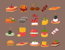Various meat fish cheese banquet snacks on banquet platter canape snacks appetizer delicious vector. Stock Photos