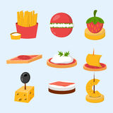 Various meat fish cheese banquet snacks on banquet platter canape snacks appetizer delicious vector. Various meat, fish and cheese banquet snacks on banquet Royalty Free Stock Image