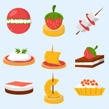 Various meat fish cheese banquet snacks on banquet platter canape snacks appetizer delicious vector. Stock Photography