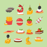 Various meat fish cheese banquet snacks on banquet platter canape snacks appetizer delicious vector. Royalty Free Stock Photos