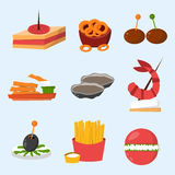 Various meat fish cheese banquet snacks on banquet platter canape snacks appetizer delicious vector. Royalty Free Stock Images