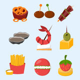 Various meat fish cheese banquet snacks on banquet platter canape snacks appetizer delicious vector. Various meat, fish and cheese banquet snacks on banquet Stock Photo
