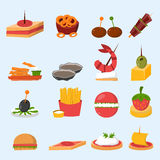 Various meat fish cheese banquet snacks on banquet platter canape snacks appetizer delicious vector. Various meat, fish and cheese banquet snacks on banquet Royalty Free Stock Photos