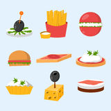 Various meat fish cheese banquet snacks on banquet platter canape snacks appetizer delicious vector. Various meat, fish and cheese banquet snacks on banquet Royalty Free Stock Images