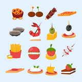 Various meat fish cheese banquet snacks on banquet platter canape snacks appetizer delicious vector. Various meat, fish and cheese banquet snacks on banquet Stock Images