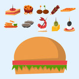Various meat fish cheese banquet snacks on banquet platter canape snacks appetizer delicious vector. Stock Images