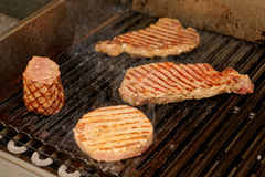 Various meats on grill. Various meats on electric grill Stock Image